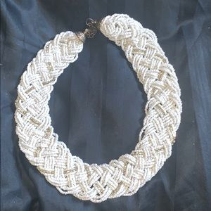 White and gold bib necklace